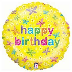 Birthday Spring Butterflies Foil Balloon with National UK Delivery only £9.95 Boxed