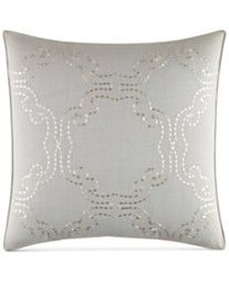 """Tommy Bahama Home Heirloom Embroidery 18"""" Square Embroidered Scallop Decorative Pillow"""