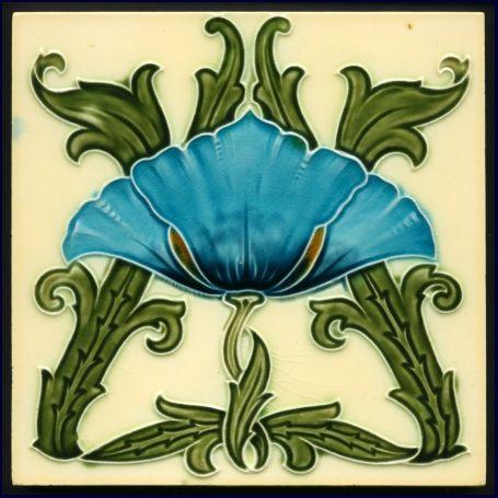 Minton Art Nouveau Majolica Tile - Date: 1905
