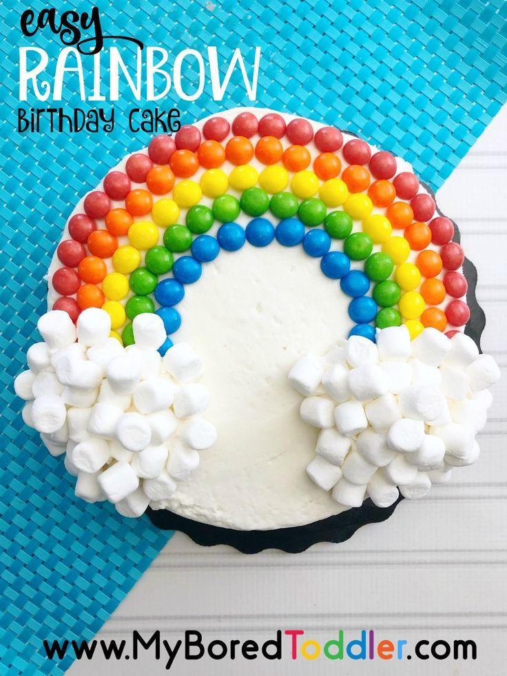 Einfache Regenbogen-Geburtstagstorte mit Kegeln und Marshmallows #stpatricksday #stpat …   – Anniversaire enfant