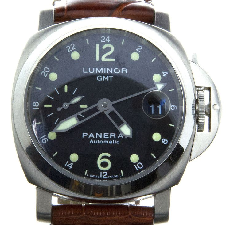 A classic Panerai from 2003, this Luminor GMT - model PAM 159 - was only produced for 3 years in this exact configuration. It has a brushed stainless steel 40mm case with a polished bezel and crown gu