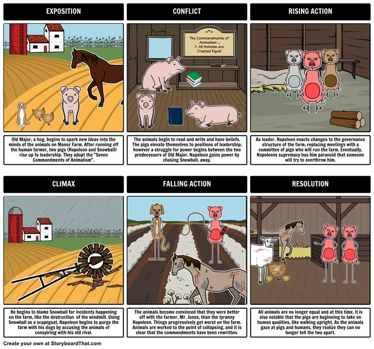 Animal Farm by George Orwell - Plot Diagram: Help students visualize the Animal Farm Plot using storyboards / graphic organizers! Students' storyboards should include references to Animal Farm allegory, Animal Farm characters, and Animal Farm vocabulary, whenever possible.  Find more Animal Farm Student activities here: https://www.pinterest.com/storyboardthat/animal-farm/
