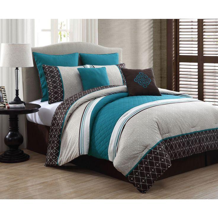 Leather King Bedroom Sets Teal And Black Bedroom Bedroom Furniture Modern Bedroom Decorating Ideas Grey: 8 PC King Teal Brown Bed In Bag Embossed Comforter Set