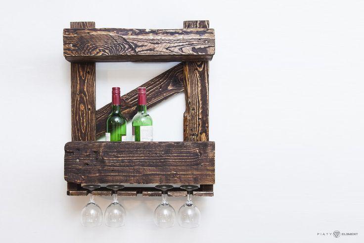"""Drewniana półka na wino - """"Paletówka '50"""" - PiatyElement - Półki"""
