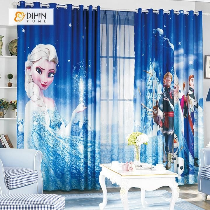 Dihin Home 3d Printed Elegant Frozen Blackout Curtains Window Curtains Grommet Curtain For Living Room 39x102 Inch 2 Panels Included Cool Curtains Kids Curtains Curtains Living Room