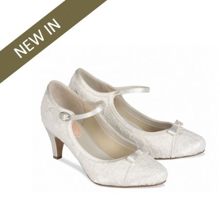 Pink Paradox Cupcake Vintage Lace Wedding Shoes, low heel, with strap