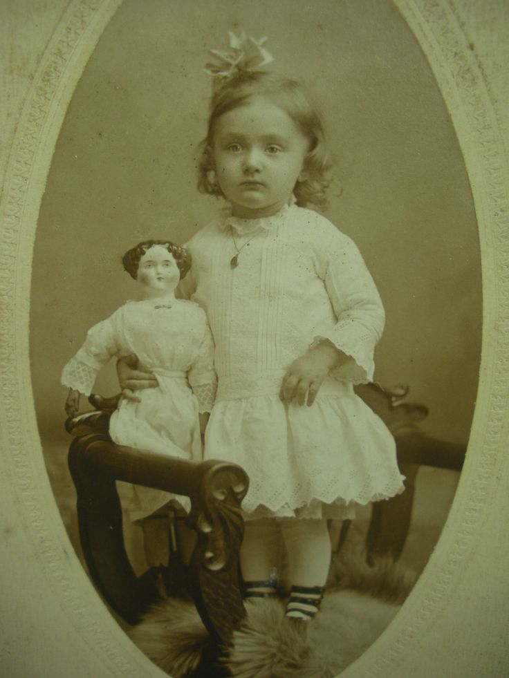 chinas dolls for study | Antique photo 1911 girl with CLEAR flattop china doll with legs ...