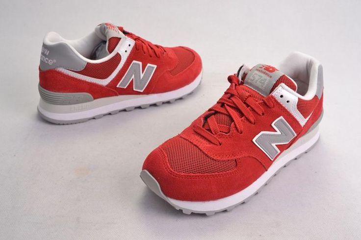 New Balance 574 Retro-Liebhaber Suede Rot Grau Frauen Schuhe