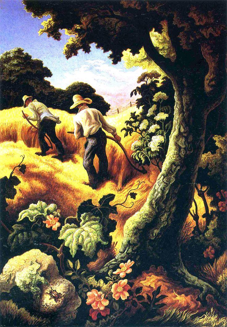 July Hay by Thomas Hart Benton, 1943, egg tempera, methyl cellulose, and oil on masonite, style / genre: Social Realism, Regionalism