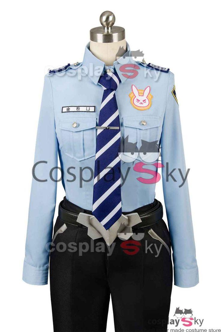 Overwatch D.VA DVA Hana Song Police Officer Uniform Cosplay Costume_6