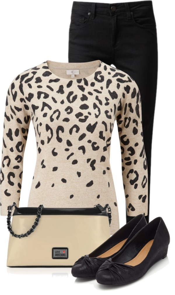 """""""Animal Print Jumper and Black Jeans"""" by fashion-766 on Polyvore"""