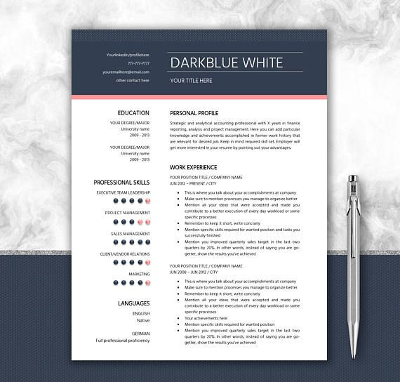 CV Template Personalized Design Editable In Word  Writing