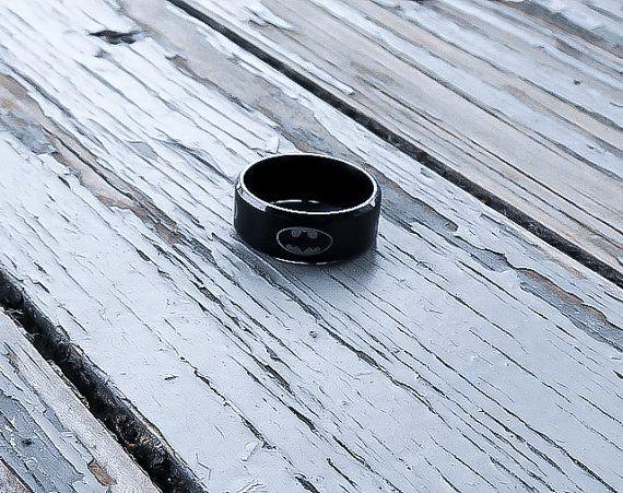 Batman Ring, Stainless Steel batman Ring, Superhero Ring, Mens Ring, Gift for him, Batman Jewelry, Black Ring, Stainless Steel Ring