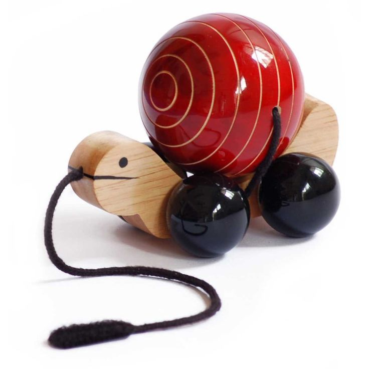 Tuttu Turtle (Red) - Wooden Pull Toy With Rotating Ball