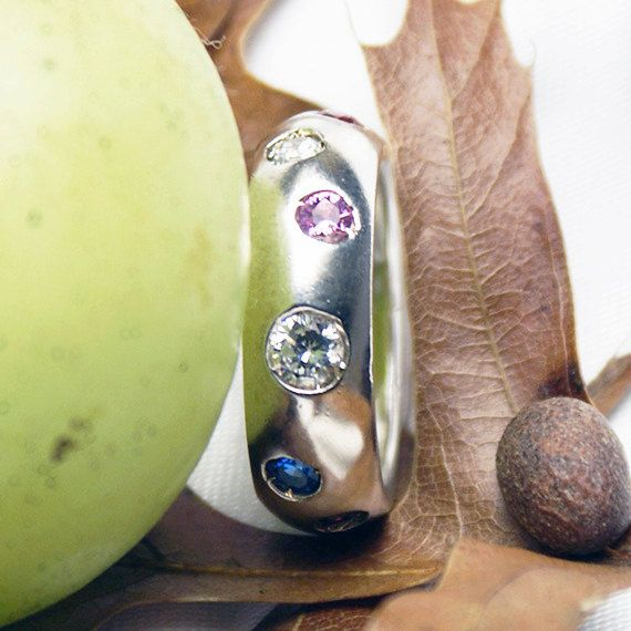 Silver band with 6 colors Stones by LaremelStudio on Etsy, $42.00
