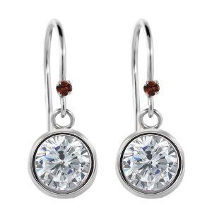 2.03 Ct Round H/I Diamond Red Garnet 925 Sterling Silver Earrings