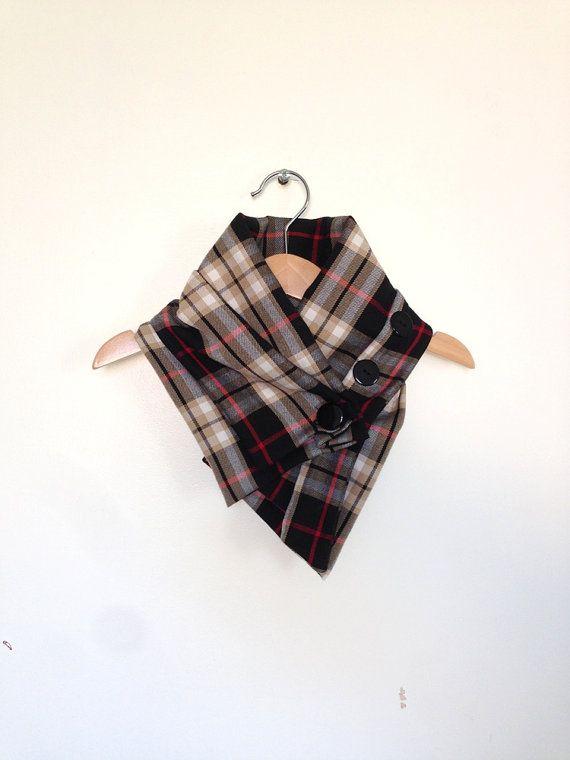 Baby scarf, toddler scarf, bandana scarf brown and black plaid, toddler clothing, toddler neckwarmer, toddler gift UK, kids plaid scarf on Etsy, £12.00