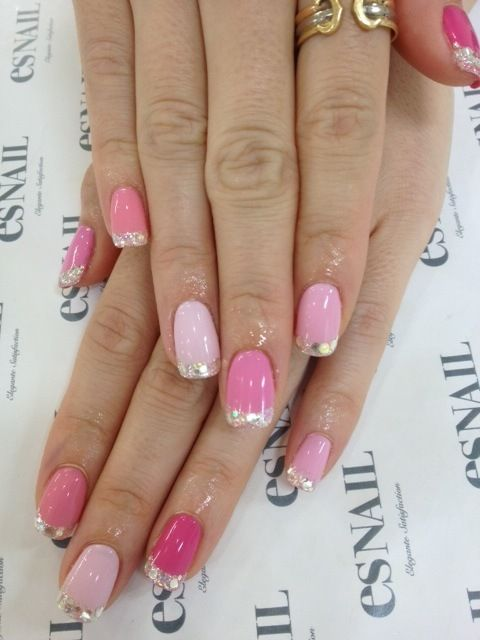 pink glitter french manicure