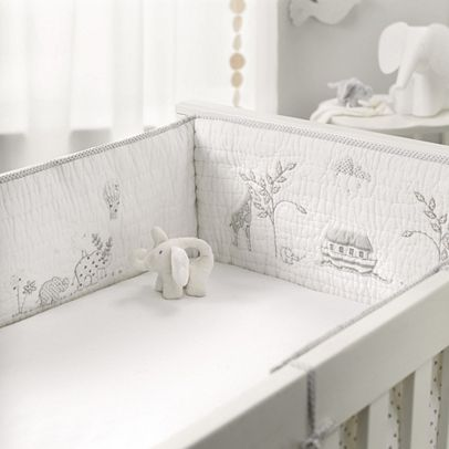 Noah's Ark Cot Bumper Bit pricey at £65 but love the grey safari animals around it.