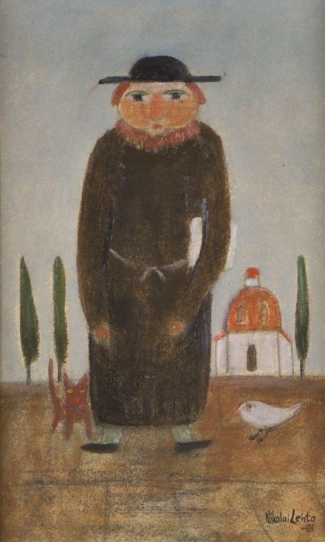 Nikolai Lehto: Munkki, 1981, öljy, 37x24 cm - Hagelstam A135