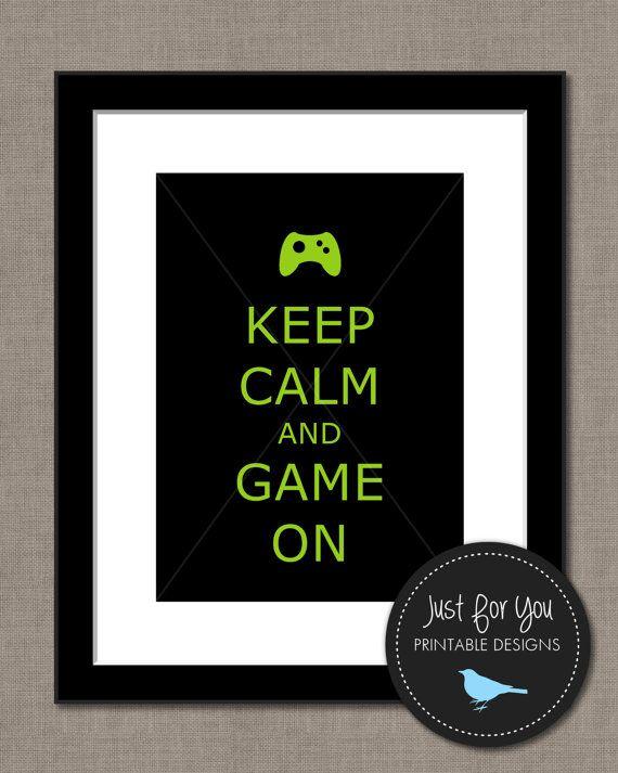 Videojuegos Keep Calm y juego en  mantener por 4UPrintableDesigns