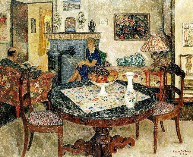 Interior, 1944, by Leon De Smet (Belgian, 1881-1966)