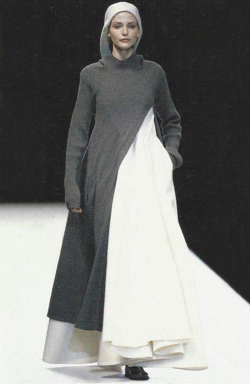 Yohji Yamamoto Fall / Winter 1996 / 1997 { model Nadja Auermann } { gown } { coat sweater }