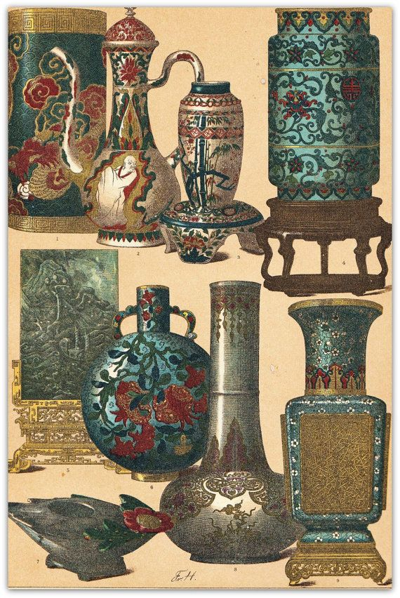 Arte cinese e manufatti antichi vasi stampa di CarambasVintage