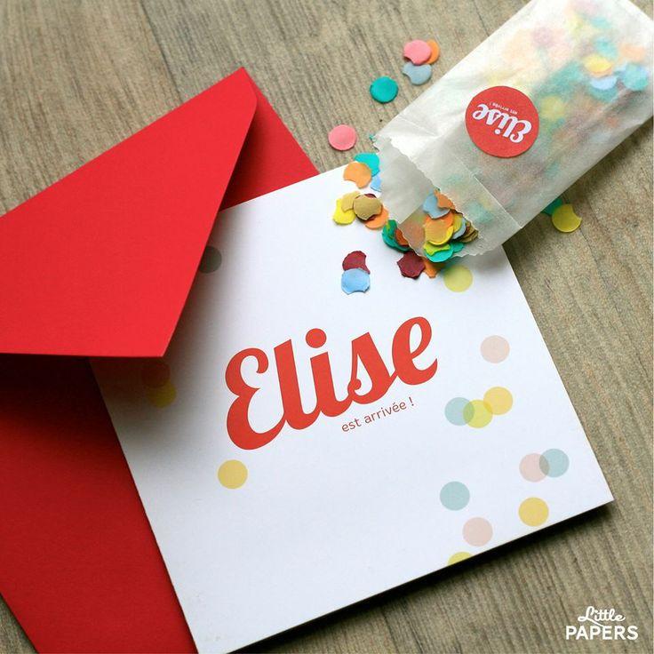 """Collection """"Confetti's party"""" Un faire-part de naissance festif ! http://www.little-papers.com/    faire part naissance confetti"""