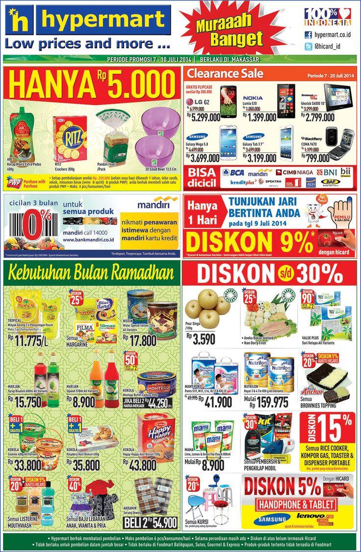 Hypermart: Promo Koran Weekday Periode 7 - 10 Juli 2014 (Makassar) @hicard_id