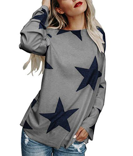 b6a31a3e $19.99--GREY-1--XX---Mojessy Women's Sexy Boat Neck Long Sleeve Star Print  Pullover Tshirt Sweatshirt Blouse Tops Small Navy at Amazon Women's Clothing  ...