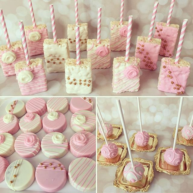 love this pink white and gold set of treats for brielles baptism yesterdaypic of my dessert table to follow rkt chocolatecoveredoreos oreos
