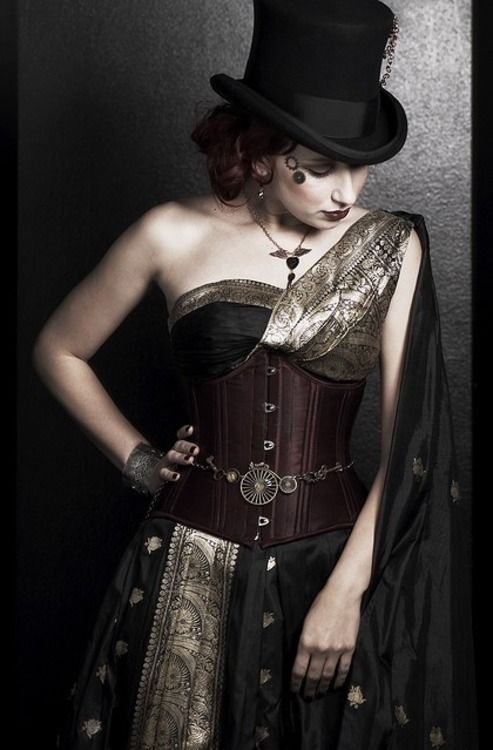 I *love* the use of the Indian silk with gold-embroidery. Very stylish and unique approach to Steampunk costuming.