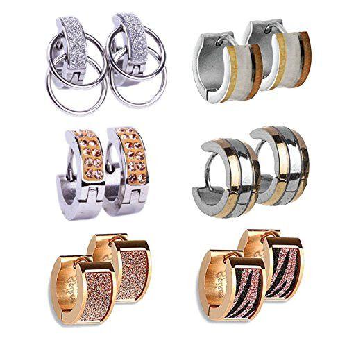 BodyJ4You® Hoop Earrings Piercings Huggie Earring Rose Gold Value Pack 6 Pairs