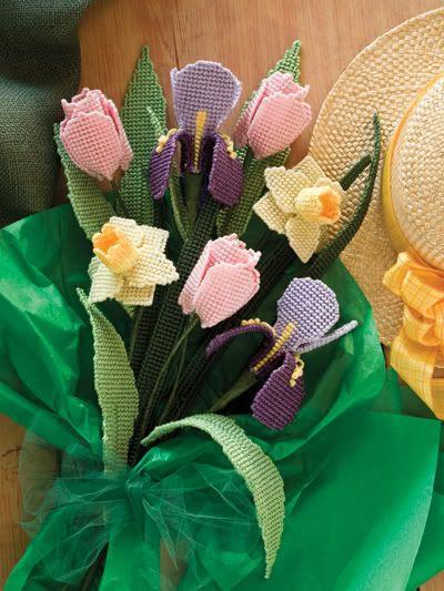 plastic canvas flowers free patterns | Flower Garden Plastic Canvas Pattern Book New | eBay