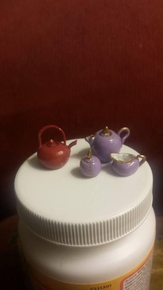 Handmade miniature teapots# dollhouse  miniatures#fimo.