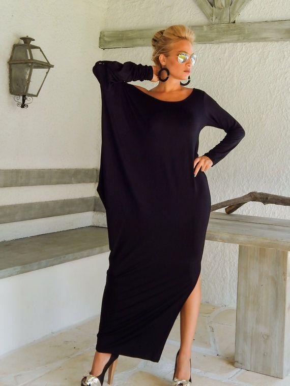 Black Maxi Long Sleeve Dress / Black Kaftan / Asymmetric Plus Size Dress / Oversize Loose Dress / #35030