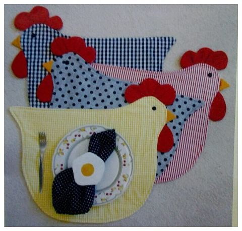 DA NET: Patchwork Chicken, Sewing, Poul, Mantels Individual, Chicken Placemat, Napkins Rings, American Game, Placemat And Napkins, Individual Gallina
