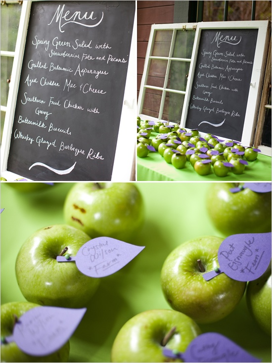 wedding escort cards: bright green granny smiths and purple tags!