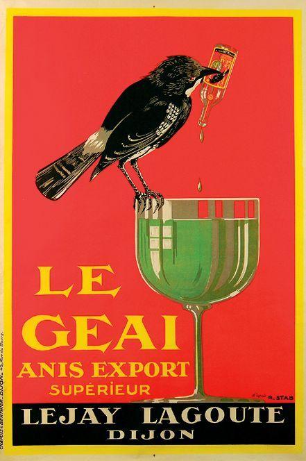 vintage Le Geai anise liqueur advertisement