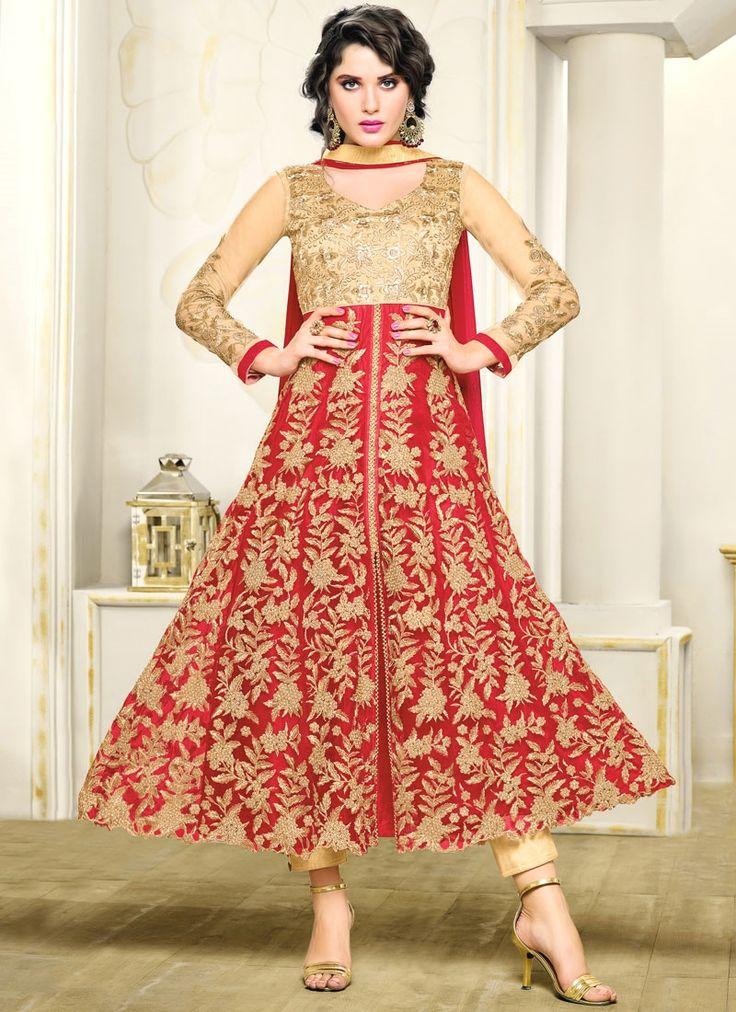 Intrinsic Red Lace Work Art Silk Anarkali Suit