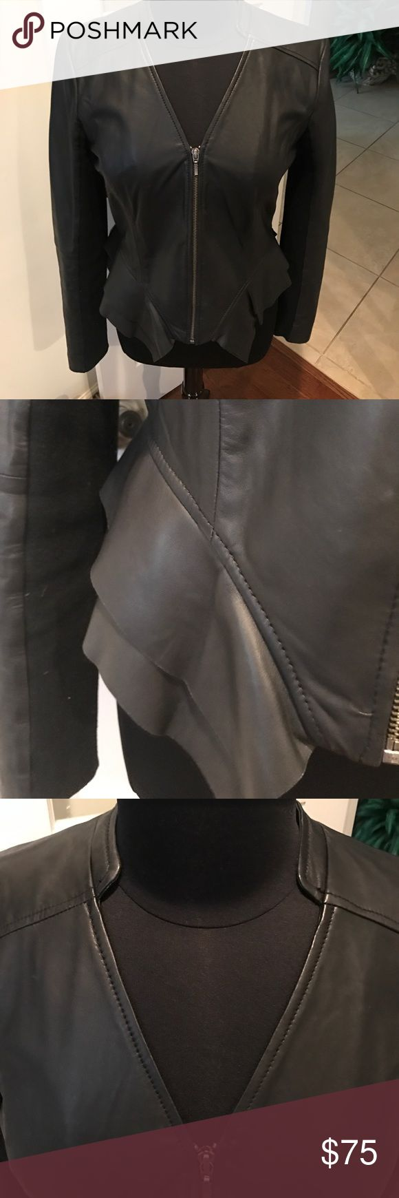 Hinge black leather short jacket Black leather long sleeves ladies jacket, with detailed contoured waistline all the way around, zipper front, v neck , ribbed fabric inset of sleeves( great for easy movement) Beautiful jacket to wear over cute evening top or sweater , wear a coat or wrap over it❄️ Hinge Jackets & Coats