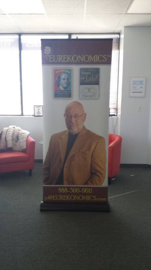 Retractable banner stand fitted with blockout banner material produced for the Colorado Republican Business Coalition.