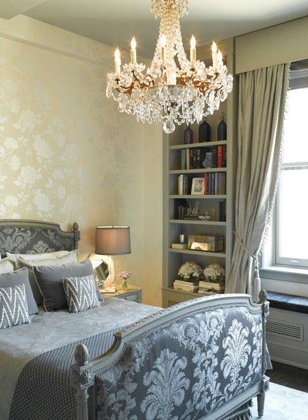 Bedroom. Parisian-Chic. Layer upon layer of pattern gives this principal bedroom, designed by Kishani Perera, a romantic vibe. The flea-market bed, redone in charcoal damask.. read more at House & Home magazine.