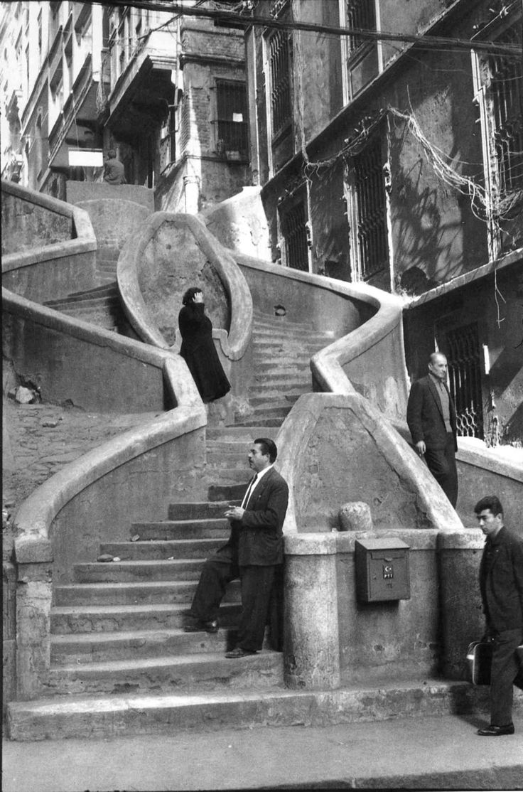 Vintage 1965 photo by Henri Cartier-Bresson. The Camondo Stairs from Banks Street, Istanbul, Turkey