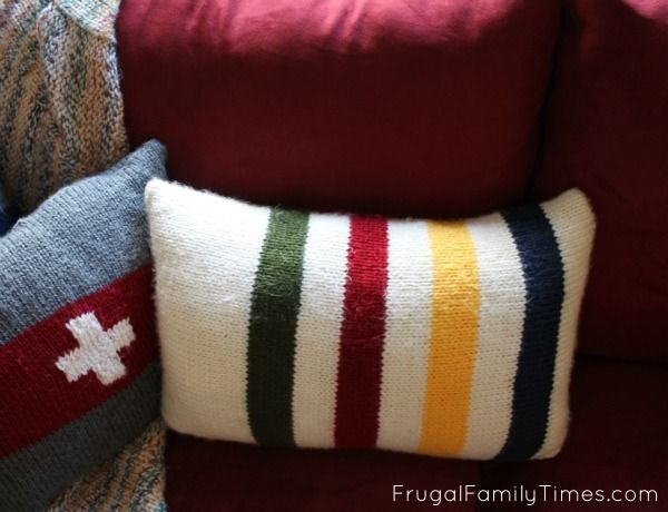 Frugal Family Times: Hudson's Bay Blanket Inspired Pillows: A Simple Knitting Pattern for Total Beginners