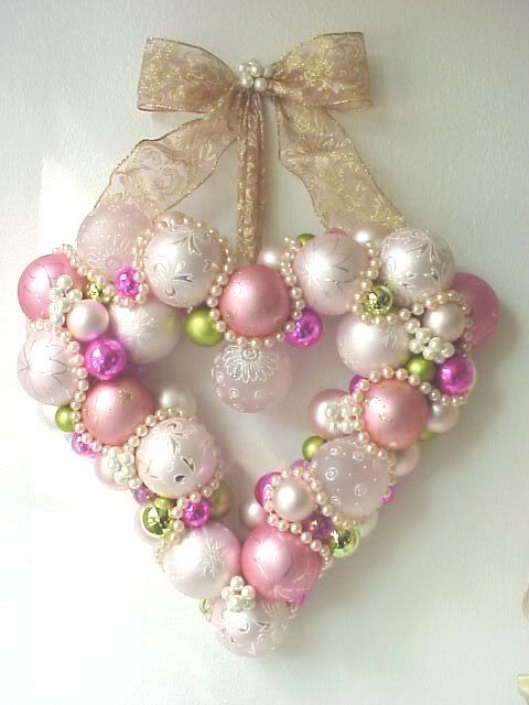 Pink Ornaments and Pearls Wreath ~