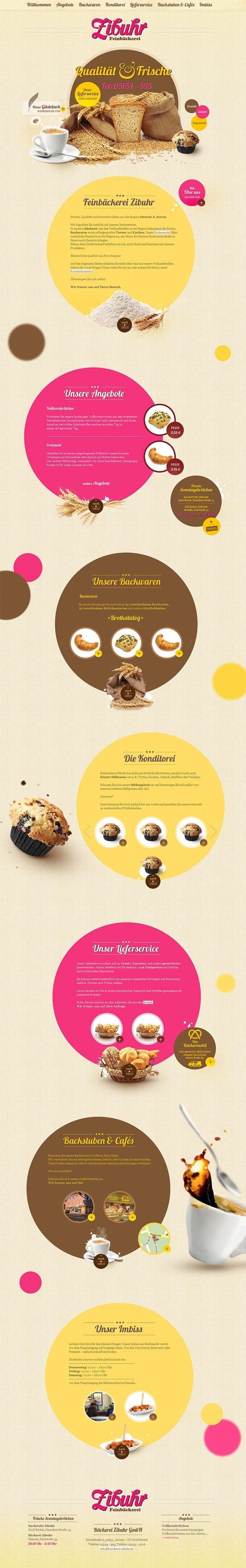 So könnte das Webdesign für eine traditionelle Bäckerei mit attraktiven, frischen und leckeren Angebot rund um Brot, Brötchen und Gebäck aussehen.