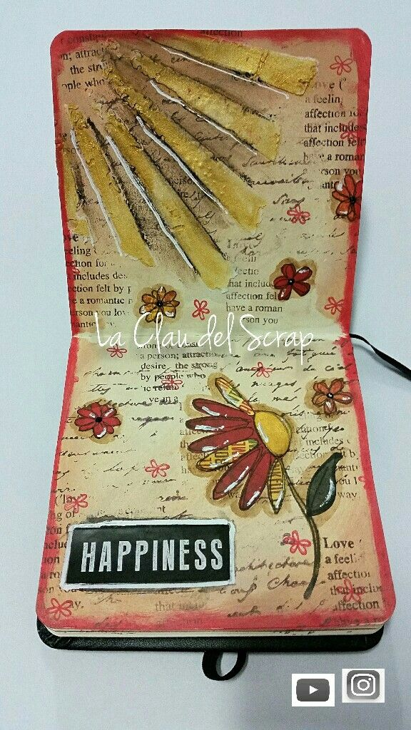 Happiness art journal Page Flower Tim Holtz. Fall colours.