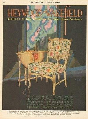 1929 Heywood Wakefield Furniture Antique Normandy Chair C E Millard Art  Deco Ad